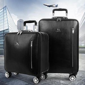 bavul taşıma onTravel Çanta Carry-ONV Üst Sınıf Siyah Taiiga Gerçek Deri Seyahat Bavul PEGASSE LEGERRE M30005 Rolling Bagaj