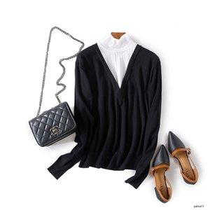 إمرأة مصمم الخريف مزاجه تباين الألوان جوفاء طويلة الأكمام ضئيلة تمتد قاعدة البرية قميص sweaterH