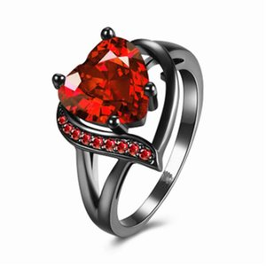 cuore UltraShine anello marchio di moda europee e americane rosso zircone rifornimento del punto anello prevenzione delle allergie