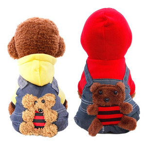 Newly Design Pet Dog Jeans Overalls Cold Winter Thicken Dog Clothes Warm Pet Hoodie Jumpsuits Tracksuits with Bear Cartoon Rompers