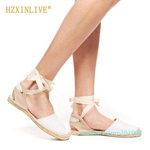 Insta Stil Espadrilles Kadınlar Sandalet 2019 Yaz Bilek Kayışı Ayakkabı Düz Sandalet Kadınlar Dantel yukarı Espadrilles s02