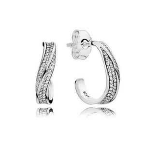 Kadınlar Kızlar Hediye Takı EARRING'i için Pandora Şık Dalgalar Kulak kancası Küpe için 925 Gümüş cz Diamond küpe Orijinal Kutusu