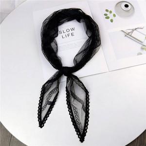 2020 laço de cabelo de seda rosa Branco New Black Summer Green Lace Scarf Mulheres senhoras Aeromoça Neck Envoltório principal Lenços Kerchiefs Foulard