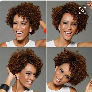 Venda quente natural Humano 150% densidade Curto Afro Kinky Curl Bob Peruca Dianteira Do Laço Para As Mulheres Africanas pré arrancado 360 peruca dianteira do laço