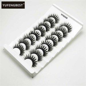 8Pairs 3D Soft Faux Mink Hair False Eyelashes Natural Messy Eyelash Crisscross Wispy Fluffy Lashes Extension Eye Makeup Tools