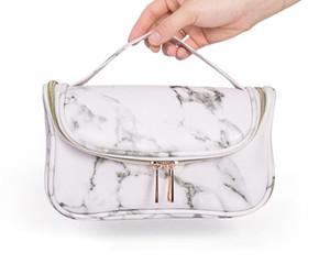 3pcs Tolietry kits Women PU Marbling Multifunctional Large Capacity Cosmetic Bag White Black