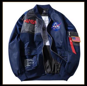 НАСА Мужская осень конструктора Куртки летные Crew Neck с длинным рукавом Homme Одежда Мода Стиль Hip Hop Повседневная одежда