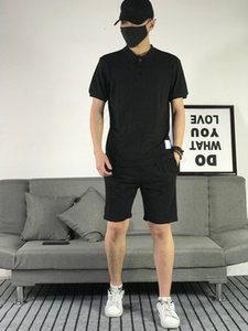 Summer new high-end quality pure cotton ice silk classic printed round neck T-shirt + printed shorts leisure sports suit