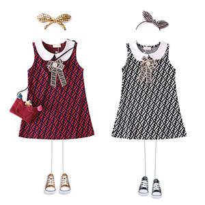 Розничная одежда для девочек с отворотом и жилетом, с бантом, без рукавов, с принтом, хлопковая юбка для вечеринки, детские повседневные платья, детская дизайнерская одежда