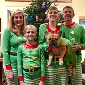 Family Christmas Pack jeux imprimés Rayé Patchwork Home Party Ameublement famille de Noël assorti Tenues Pyjama Sets 07