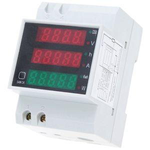 디지털 전압계 전류계 소음 가로장 현재 전압 미터 AC80-300V 발광 다이오드 표시 볼트 미터 역률