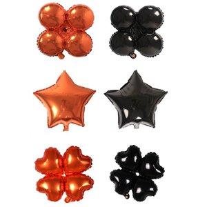 18 pulgadas Halloween Trébol de cuatro hojas Corazón Estrella Globos Decoraciones de Halloween Lámina Globo de helio Juguetes inflables Artículos de fiesta JK1909