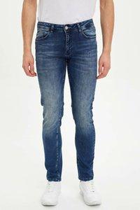 DeFacto Man Autumn Washed Blue Denim Jeans Men Casual Mid-waist Denim Pants Male Straight Bottoms Trousers-L1837AZ19AU