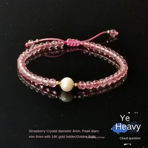 Pure handwork Pearl strawberry crystal bracelet gift for girlfriends gifts extremely fine wedding bracelet simple and elegant