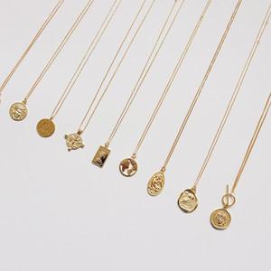 Монета ожерелье 925 Серебряное колье Kolye Золотой кулон Шарм Минимализм Vintage Boho Bijoux Femme Collier ожерелье женщин ювелирные изделия V191031