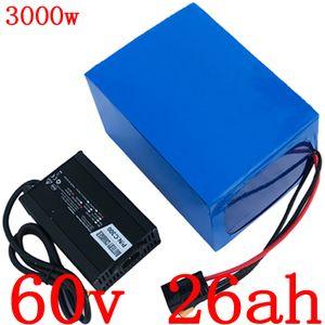 Batterie au lithium V 60 60V 60V 25Ah 25Ah batterie de bicyclette électrique 2000W 2500W 3000W chargeur de batterie de scooter électrique avec 5A