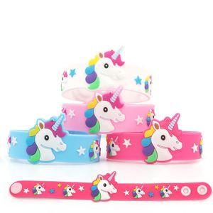 licorne Cartoon Charm Bracelets enfants fille PVC Sport Bracelet souple Cartoon Epoxy Wristband Birthday Party Bijoux Cadeaux M1426