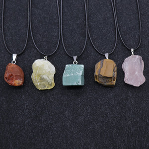 1pc Reiki pietra prime minerali Pendulum Agate Naturali ametiste Labradorite Fluorite Quarzo Choker Collana Donne