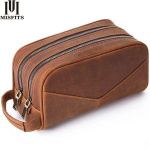 de mano bolsa de cuero auténtico MISFITS bolsa de lavado de los hombres de moda del maquillaje de las mujeres de la caja cosmética grande diseñador Capacidad Marca Neceser T200602