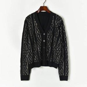 N14 2019 Осень Зима Белый / Черный Colorblock Вязаная Лоскутная Cardigans свитер с длинным рукавом V шеи Мода Свитера X10Y91048