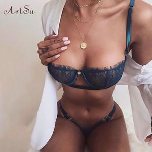Artsu 2 piezas de sujetador de encaje y panty set de las mujeres sexy media taza sujetador bodycon intimates lencería conjunto bralette encaje breve conjunto assu60148 y200701