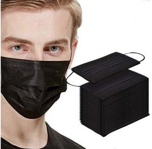 50pc Masque Visage noir Bouche de protection à usage unique 3 couches Filtre Earloop non tissé Masques bouche En Stock Expédition rapide