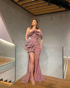 Elegante Yousef Aljasmi Sequined Nixe-Abend-formale Kleider 2020 Split Plus Size Abendkleider Abendgarderobe robe de Soiree