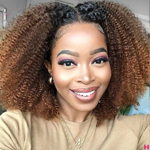 Ombre Highlight Wig Brown Honey Blonde Colored HD afro kinky curly Lace Front Human Hair Wigs 1b 27 brazilian hair closure wigs 150%density