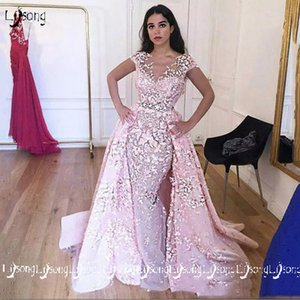 Pink Appliques Evening Dress Vestido festa Prom Party Wear High Quality Short Sleeves Formal Maxi Gowns Evening Dresses Multi Tulle Layers