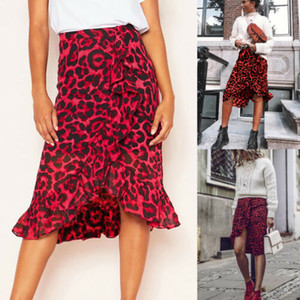 Women High Waist Leopard Print Bodycon Casual Skirt
