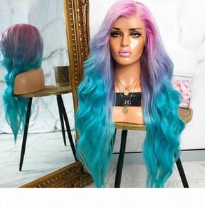 Glamour Bunte Luxus-Körper-Wellen-Haar-Spitze-Front-Perücke Star Rihanna Stil Patel Einhorn Regenbogen-Farben-Haar-volle Spitze-Front-Perücken