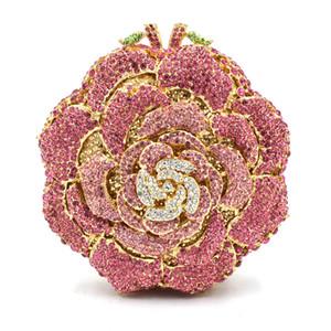 Dgrain Rosen-Blumen-Frauen-Kristallgeldbeutel-Abend-Handtasche Braut Diamant Clutch Hochzeit Minaudiere
