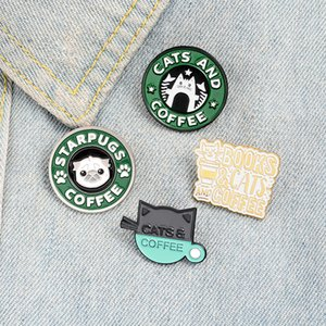 Animal Cafe Enamel Pins Custom Badge Cat Dog & Coffee Cup Books Jewelry Pug Puppy Kitty Brooches Lapel Pin For Friends Gifts zdl0618.
