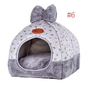 1PC pequeno Pet Dog House Tent Kennel All Seasons Bed Dogs cama macia Sujeira-resistente com arco lavável Almofada New