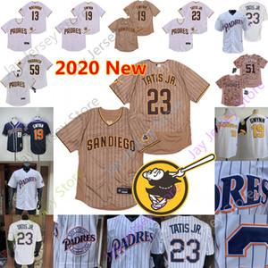 2020 Nuovo San Diego Jersey 13 Manny Machado 19 Tony Gwynn 23 Fernando Tatis Jr. 51 Trevor Hoffman 59 Chris Paddack ricamo gessato