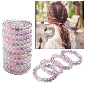 Günstige Braiders Spiral-Haar-Bänder für Mädchen-Frauen Kopfbedeckung Zubehör Telefon-Draht-Gummi-Haar-Riegel Seile Farbige Haarband Pferdeschwanz-Halter