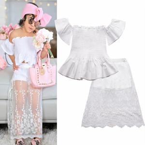 New Summer Baby Girls Clothes Set Kids Slash Neck Topt Tshirt + Lace Patchwork Skirt Girl 2pcs Outfits Children Sets 4864