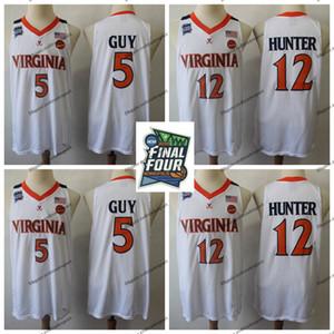 2019 Campeões Virgínia Cavaliers # 5 Branco Kyle Guy Jersey UVA NCAA Final Quatro 12 De'Andre Hunter Mens Costurado Basquete Jerseys