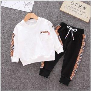 2020 Novos Bebés Meninos Meninas Vestuário Define T-shirt Sportwear Crianças Casual Treino Crianças + Pants 2pcs set terno meninos menina Outfits