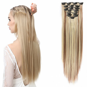 Sara 60cm 24 pollici 7 pezzi / set clip in estensioni dei capelli dritto clip ins capelli pezzi clip sintetica su estensione dei capelli per le donne