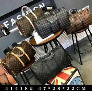 principales bolsas 2020 hombres mujeres bolsa de lona bolsas de viaje del equipaje de mano bolsa de viaje de lujo los hombres bolso de cuero de la PU de la gran cruz de totalizadores del bolso del cuerpo 47cm