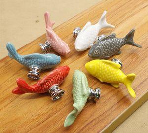 Forma Bambini cassetto manopole Pesce Maniglie di ceramica per bambini in camera Kitchen Cabinet Maniglie Armadio pomoli per mobili Hardware