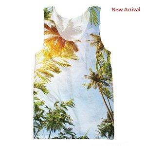 Summer Mes Camisetas sin mangas 3d Sunny Coconut Trees Impresión 3d Chaleco Vacaciones Sin mangas Moda Casual Tops Bodybuilding Wholesale