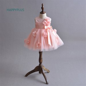 Happyplus Battesimo Battesimo Baby Summer Dress Girl Baby Dress Party Shower Pink Ivory Flower 1 ° Compleanno Baby Wedding J190506