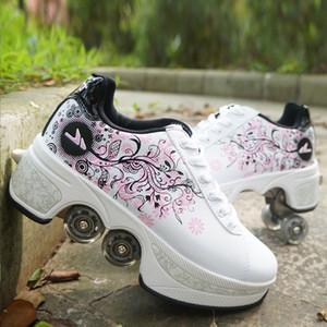 Sapatos quentes Casual Sneakers Caminhada + Patins deformação Roda patins para Homens Mulheres Unisex Casal Childred fugitivo patins de quatro rodas