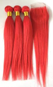 Бразильские человеческие волосы Virgin Veys Weft Red Color Weaves дважды нарисованные 3 пучка с закрытием для полной головы