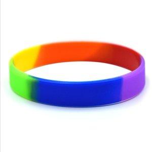 Deporte ocio pulsera de silicona colorido pulsera de goma Flexible muñeca BangleBracelet para Mujeres Hombres joyería regalos