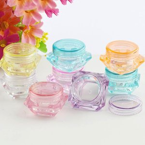 100pcs / lot 3G 5G Limpar Garrafa diamante forma pequena Jar Plastic Armazenamento Para Amostra Cosmetic Container pote pode 7/5