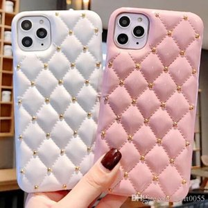 1pcs Phone Case For Iphone 7 8 Xr Xs 11 Pro Max Plus European And American Small Fragrance Style Rivet Leather Protective Case