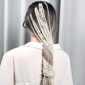 Simulated Pearl Long Tassel Headband More Chains Bridal Wedding Hair Accessories Hair Clip Women Party Headwear Hair Jewelry
